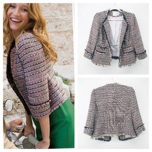 Boden | Boucle Pink Fringed Tweed Preppy Blazer